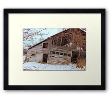 Tilted barn Decicated to a Mother's Love  Framed Print