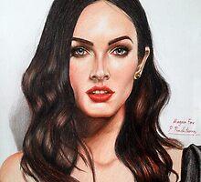 Portrait Drawing Print of Megan Fox by P. Praditsorn