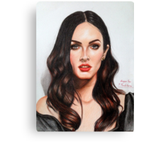 Portrait Drawing Print of Megan Fox Canvas Print