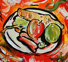 Plate of fruit and veg (colourful still life) by HannahLstaples