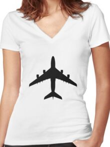 Airbus A380 (top) Women's Fitted V-Neck T-Shirt