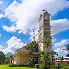 Iglesia de la Fortuna y Arenal - Church and Volcano in Costa Rica by Mark Tisdale