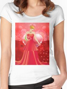 Lady in red dress 4 Women's Fitted Scoop T-Shirt