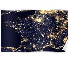France At Night - As seen from Space Poster
