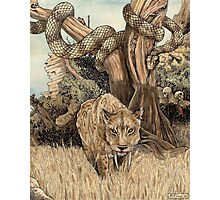 Smilodon & Titanoboa Photographic Print