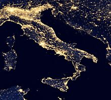 Italy at night - Night light Satellite Image by verypeculiar