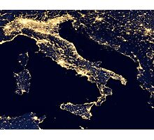 Italy at night - Night light Satellite Image Photographic Print