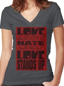 Love Stands Up Women's Fitted V-Neck T-Shirt