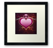 Pink heart and floral Framed Print