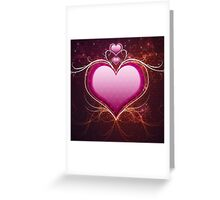 Pink heart and floral Greeting Card