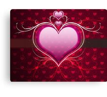 Pink heart and floral 2 Canvas Print
