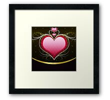 Pink heart and floral 3 Framed Print