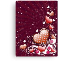 Pink heart and floral 5 Canvas Print