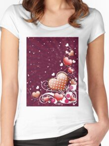 Pink heart and floral 5 Women's Fitted Scoop T-Shirt