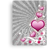 Pink heart and floral 8 Canvas Print