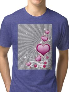 Pink heart and floral 8 Tri-blend T-Shirt
