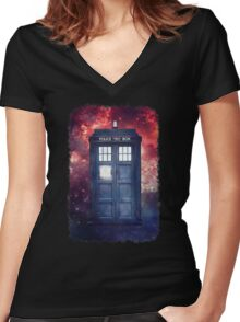 Police Blue Box Tee The Doctor T-Shirt Women's Fitted V-Neck T-Shirt