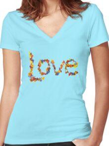 Flower Power- Love Women's Fitted V-Neck T-Shirt