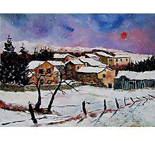 snow in the ardennes belgium Photographic Print