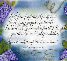 Fruit of the Spirit handwritten grape artistic design by Melissa Goza
