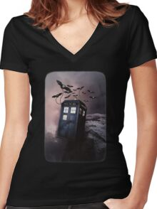 Flying Blue Box In Space Hoodie / T-shirt Women's Fitted V-Neck T-Shirt