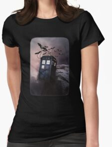 Flying Blue Box In Space Hoodie / T-shirt Womens Fitted T-Shirt