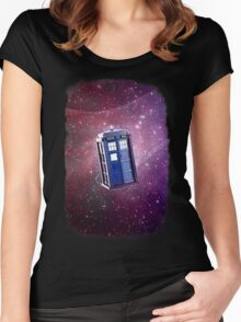 Blue Box nebula Tee Tardis Hoodie / T-shirt Women's Fitted Scoop T-Shirt