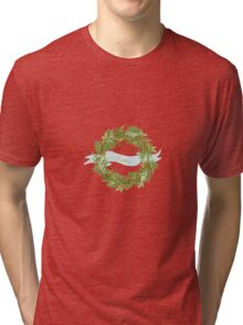 Watercolor wreath with ribbon Tri-blend T-Shirt
