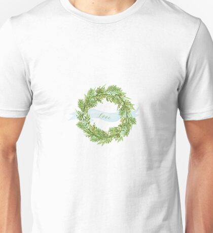 Watercolor wreath with ribbon Unisex T-Shirt