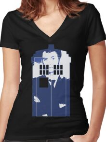 New Blue Box T-Shirt Tardis Tee Women's Fitted V-Neck T-Shirt