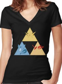The Legendary Birds Triforce Women's Fitted V-Neck T-Shirt