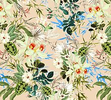 Hibiscus, Orchid, Rosebuds - White Blue Green by sitnica