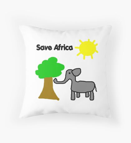Save the Elephants Throw Pillow
