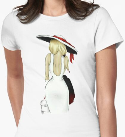 Girl in white Womens Fitted T-Shirt