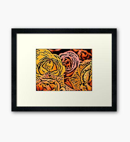 Cautious - Woodcut Framed Print