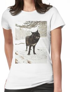 Lone Black Wolf Womens Fitted T-Shirt