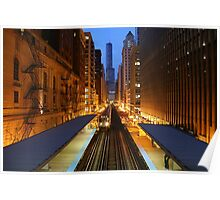 Chicago Elevated Train at dusk Poster