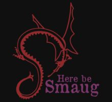 Here be Smaug - Red & Pink, for Black T-Shirt by Mystalope