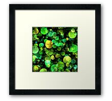 Green circles abstract design Framed Print