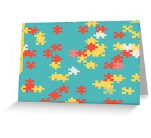 Puzzle pieces abstract design Greeting Card