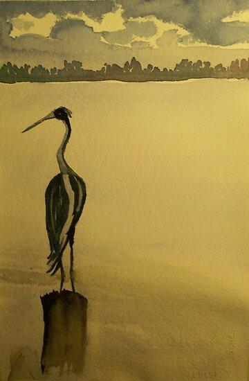 Lingering Heron by RLHall