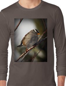 White Crowned Sparrow Winter Long Sleeve T-Shirt