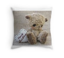 Carter, Christmas Bear Greetings. Handmade bears from Teddy Bear Orphans Throw Pillow