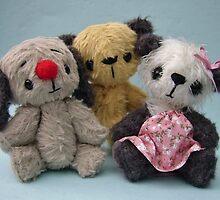 Sooty, Sweep and Soo. Handmade bears from Teddy Bear Orphans by Penny Bonser
