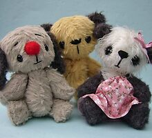 Soot, Sweepie and Soozie. Handmade bears from Teddy Bear Orphans by Penny Bonser