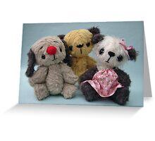 Soot, Sweepie and Soozie. Handmade bears from Teddy Bear Orphans Greeting Card