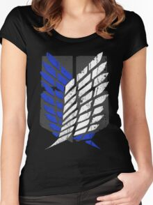 Attack On Titan - Survey Corps Logo (Blue Grunge v2) Women's Fitted Scoop T-Shirt
