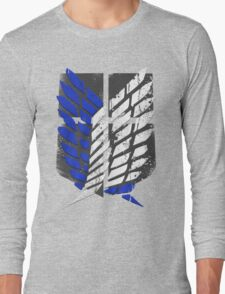 Attack On Titan - Survey Corps Logo (Blue Grunge v2) Long Sleeve T-Shirt
