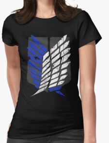 Attack On Titan - Survey Corps Logo (Blue Grunge v2) Womens Fitted T-Shirt