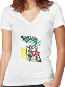 Life Lines  -  Face,  No.6 Women's Fitted V-Neck T-Shirt